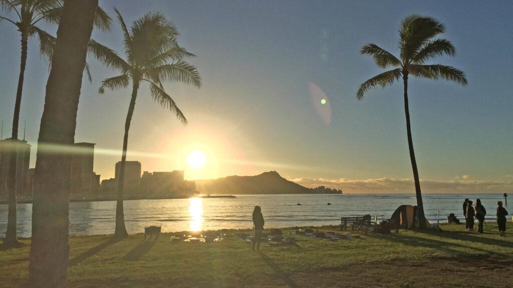 Sunrise over Diamond Head from Sand Island